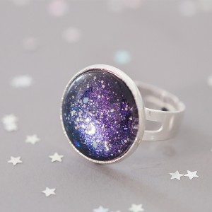 Galaxy Blue Night - Ring versilbert