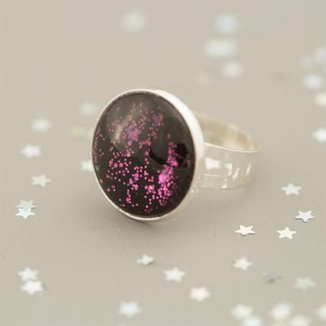 Galaxy Pink - Ring versilbert